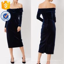 New Fashion Navy Samt Mini weg von der Schulter Kleid Herstellung Großhandel Mode Frauen Bekleidung (TA5307D)