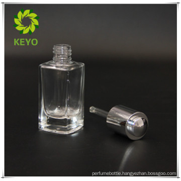 rectangle 30ml clear cosmetic glass dropper bottle