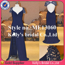 2013-2014 New model sexy deep v cut back lace sleeve chiffon gown dresses