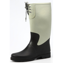 Black And White Women Rubber Rain Boots with Lace