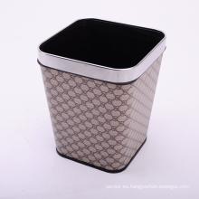 Cuadrado de Lujo de patrón de tapa de cuero abierto Top Trash Can