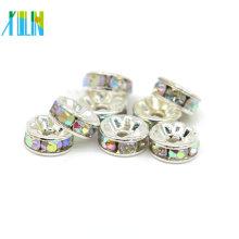 Fabricación de joyas suministros todo tamaño gran agujero rhinestone rondelle plata espaciador perlas para la venta