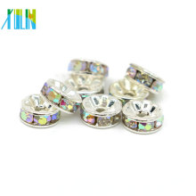 Jewelry Making Supplies All Size Large Hole Rhinestone Rondelle Silver Spacer Beads For Sale