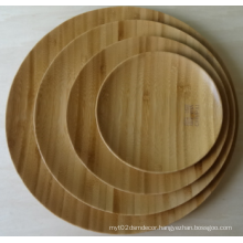 Round Bamboo Plate for Snack, Cake Wood Dish with Unique Texture