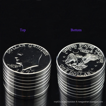Space Metal Big USA Argent Dollar Coin Grinder