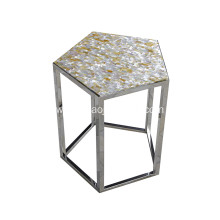 CANOSA Golden Mother of Pearl Tea Table with Stainless Steel Pentagon