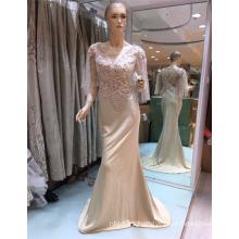 Fábrica de Suzhou estilo agraciado exquisito cuentas de satén material sirena vestidos de noche