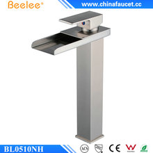 Beelee Brushed Nickel Single Handle Waterfall Bathroom Sink Faucet