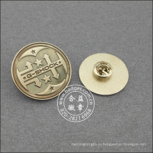 Серебряный круглый pin отворотом, значок Организационное (GZHY-ЛП-016)