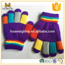 Bright Color Girls Purple Knitted Gloves 100% Acrylic Funny Winter Gloves