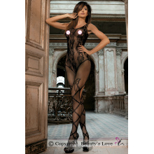 Beauty's Love Suspender Crotchless Body Stockings Fishnet Flower Lace Sheer Bodysuits