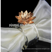 Crystal Napkin Ring with metal for Wedding or holiday decoration