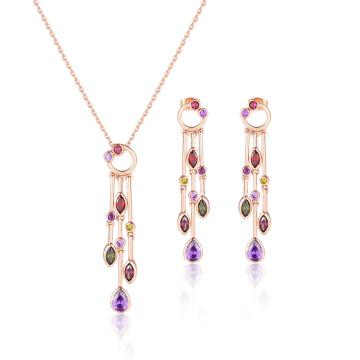 Moda elegante borlas longas conjunto de jóias de pedra multicolor