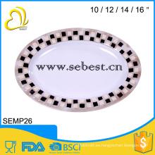 placa de servir ovalada de melamina; placa de forma ovalada