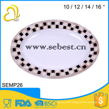 melamine oval serving plate;oval shape plate