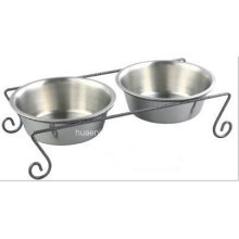Iron Art Double Dog Pr Cat Feeding Bowl