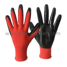 13G Red Polyester Knitted Glove with Black Nitrile Dipping