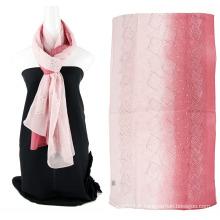 Écharpe en soie simple en émeraude à deux tons avec des sequins