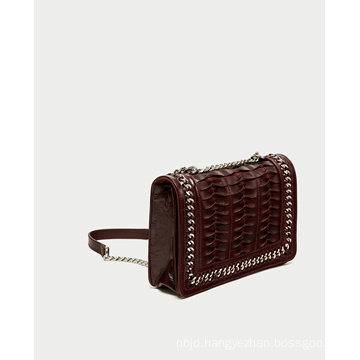 Crossbody Bag with Leather and Chain Strap