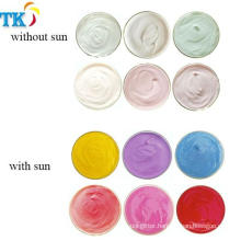 Photochromic pigment can color change after sun/UV light for nail polish T-shirt.