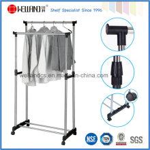 Bricolage à double tige en acier extensible pour vêtements de séchage