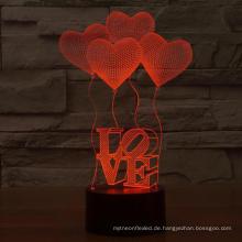 3D Illusion 4 Love Heart Balloons Night Light,USB 7 Colors Change Touch Table Desk Bedroom LED Lamp for Girls Lover's Gift