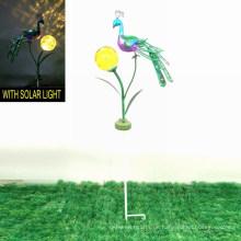Schöne Garten Solar beleuchtete Dekoration Metall Pfau Pfahl