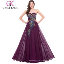 La venta al por mayor más el vestido atractivo maduro Appliqued del vestido de noche de la sirena del amor del longitud del piso CL6168-2 #