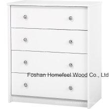 Mobiliário para quarto branco 4 Drawer Dresser Chest Shelf Organizer