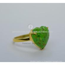 Дизайнер Зеленый Бирюзовый Драгоценных Камней Индийский Серебряное Кольцо На Рождество По Оптовой Цене