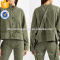 Venta caliente chaqueta de primavera de algodón de manga larga cuello alto verde con la fabricación de botones ropa de mujer de moda al por mayor (TA0004J)