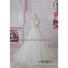 Querida vestidos de noiva Beading Chiffon vestidos de casamento de praia