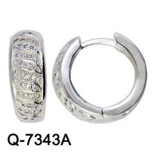 Modeschmuck 925 Sterling Silber Rhodium Huggies (Q-7343A)