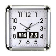 Wall Clock, Silver with Flip Calendar, Made of Plastic and Glass Materials, Square Shape
