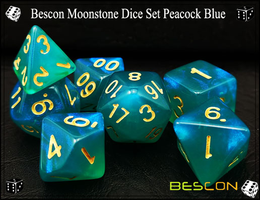 Peacock Blue Dice Set-3