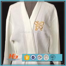 Оптовая полиэстер хлопок Вафельное плетение кимоно воротник халат Спа халат