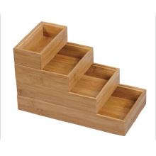 Stair Shape Bamboo Stationery Organizer con 4 compartimentos
