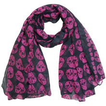 Lady Fashion Skull Printed Polyester Voile Spring Silk Scarf (YKY4225)
