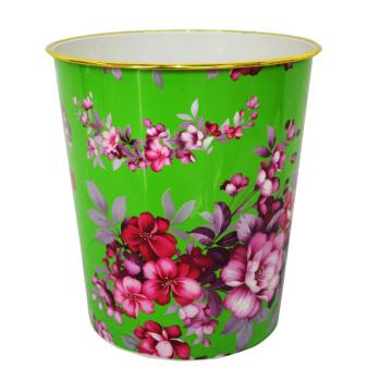 Plastic Green Open Top Blumenmuster gedruckt Müllcontainer (B06-821-2)