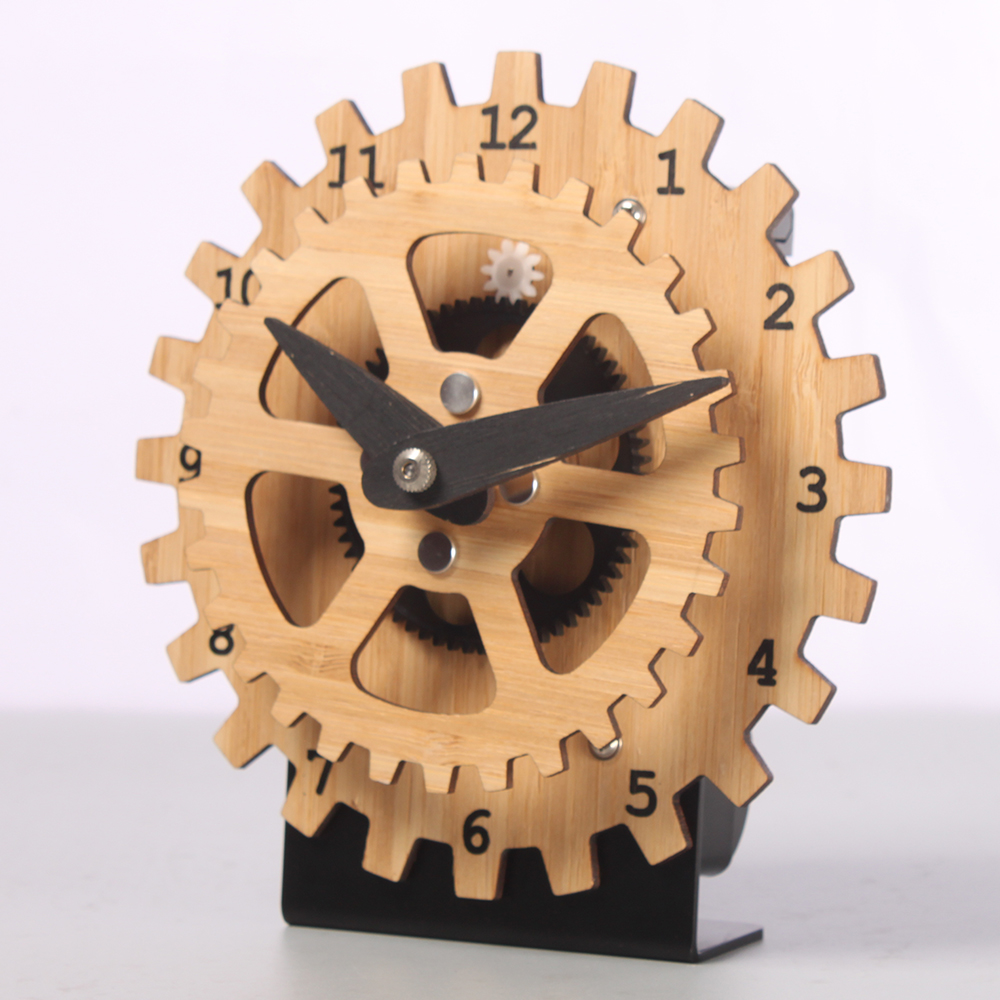 Mini Bamboo Gear Desk Clock With A Base