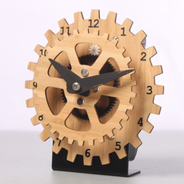 Mini Bamboo Gear Desk Clock Dengan Basis