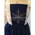 Kid Girl Snow Embroidery Navy Dress