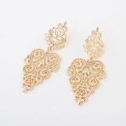Christmas Sale 18k gold plated hollow metal drop earrings hollow flower drop,Nickle free wholesale fashion jewelry earrings