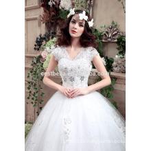 Alibaba de fábrica barato en la venta de tela de tul de cuello en V vestido de novia en venta