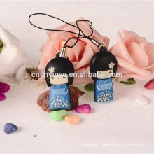 2015 lovely Japanese dolly phone charm, PVC phone pendant