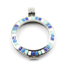 316L Stainless Steel Floating Locket with Hard Enamel