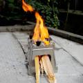 WS009 por mayor de acero inoxidable Mini Pocket madera estufa portátil Camping estufa de leña