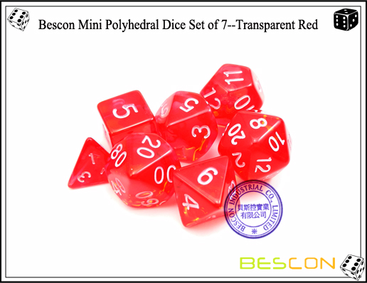 Bescon Mini Polyhedral Dice Set of 7--Transparent Red-6