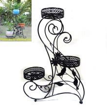 Jardin Décoration Terrain décoratif Black Metal 3 Flowerpot Rack