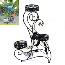 Garden Decoration Decorative Ground Black Metal 3 Flowerpot Rack